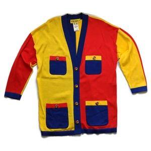 Escada Sweaters - Vintage Escada Bold Boxy Color Block Cardigan Lg